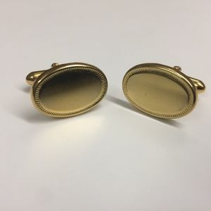 Vintage Oval-Shaped Gold Plated Cufflinks